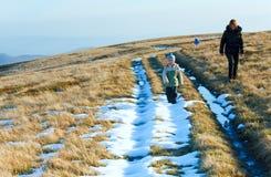 Family walk on autumn mountain plateau Stock Photography
