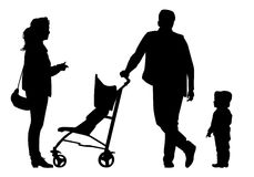 Family on walk. Family with baby and pram on a walk. Man, woman and child. Silhouettes on a white background Stock Images