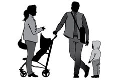 Family on walk. Family with baby and pram on a walk. Man, woman and child. Silhouettes on a white background Royalty Free Stock Image