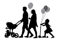 Family on walk. Family with baby and pram on a walk. Man, woman and children. Silhouettes on a white background Royalty Free Stock Photography