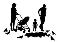 Family on walk. Family on a walk with the children in the urban park Royalty Free Stock Photo