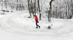 Family walk. Father and daughter with sledge on winter snow cove Royalty Free Stock Image