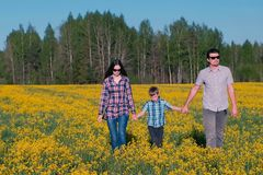Family walk on the field with yellow flowers near the forest. Mom, son, dad. Family walk on the field with yellow flowers near the forest. Mom, son, dad royalty free stock photo