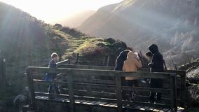 A family walk in the hills in North Wales in winter