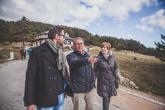 Family walk in the mountain. stock photography
