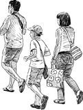 Family at walk. Vector drawing of a walking young family Royalty Free Stock Photography