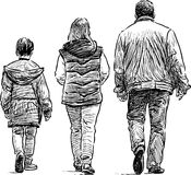 Family on a walk Stock Photo