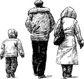 Family for a walk Stock Image