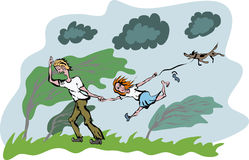 Family walk in a windy day. The dad is trying to keep his daughter and her dog from being blown away with the strong wind. Caricature style, handmade from my Royalty Free Stock Image