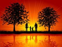 Family walking stock illustration