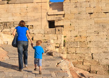 Family walking in Acropolis, Greece Stock Image