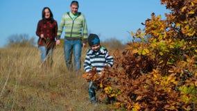 Family Walking In Autumn Meadow stock video