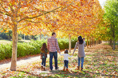 Family walking in an autumn park Royalty Free Stock Photo
