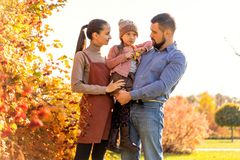 Family walking in autumn park at sunset stock image