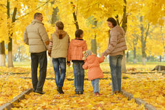 Family walking in autumnal park. Rear view of family walking in autumnal park royalty free stock photography