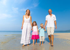Family Walking Beach Holiday Vacations Concept Royalty Free Stock Images