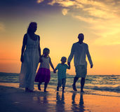 Family Walking Beach Sunset Travel Holiday Concept Royalty Free Stock Photography