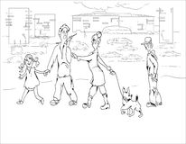 Family Walking Stock Image