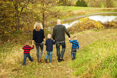 Family walking in Country Autumn Stock Images