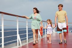 Family walking on cruise liner deck, full body Stock Images