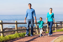 Family walking dog. Young family walking their dog at the beach stock photos