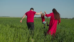 Family walking in field lifting up little girl