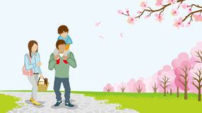 Family Walking among full bloom cherry trees -Piggyback -EPS10 Stock Photography
