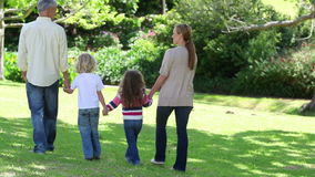 Family walking hand in hand stock video