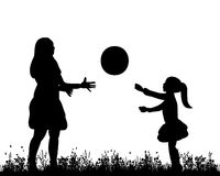 Family walking. Isolated, silhouette of mother and child playing in nature Royalty Free Stock Photos