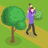 Family Walking Isometric Design Royalty Free Stock Image