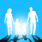 Family walking. Mom, dad and childrens Royalty Free Stock Photography