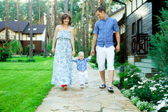 Family walking outdoors Royalty Free Stock Photography