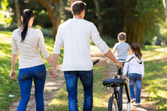 Family walking outdoors Royalty Free Stock Image