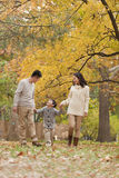 Family walking through the park in the autumn Stock Images