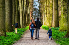 Family walking in the park in Utrecht Royalty Free Stock Photos