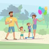 Family walking at the park vector. Happy family mother father little son and dougter having fun walking at the park vector cartoon illustration eps10 Royalty Free Stock Photo