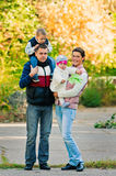Family walking in park Royalty Free Stock Photography