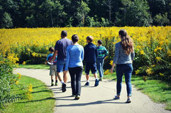 Family Walking on Path Royalty Free Stock Photography