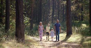 Family walking on path holding hands stock video