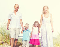Family Walking Playful Vacation Travel Holiday Concept Stock Photos