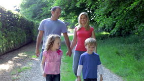 Family Walking In Summer Countryside