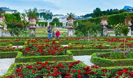 Family in the summer garden (Salzburg, Austria) Royalty Free Stock Image