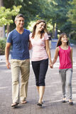 Family Walking Through Summer Park Stock Photography