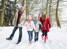 Free Family Walking Through Snowy Woodland Royalty Free Stock Photo - 12988905