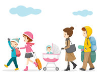 Family Walking To Travel Stock Photography