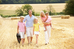 Family Walking Together Through Summer Harvested F stock photos