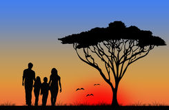 Family walking on vacation Stock Image