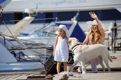 Family walking on vacations Royalty Free Stock Photos