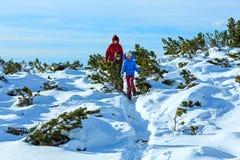 Family walking on winter mountain slope Royalty Free Stock Image