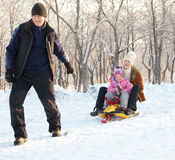 Family walking in a winter park Stock Photos